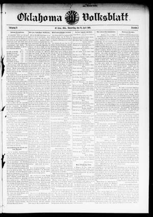 Primary view of object titled 'Oklahoma Volksblatt. (El Reno, Okla.), Vol. 16, No. 7, Ed. 1 Thursday, April 29, 1909'.