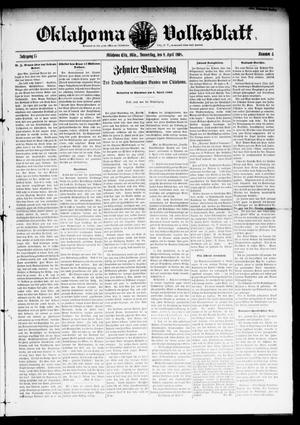 Primary view of object titled 'Oklahoma Volksblatt. (Oklahoma City, Okla.), Vol. 15, No. 4, Ed. 1 Thursday, April 9, 1908'.