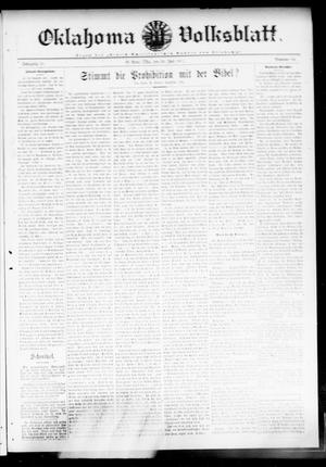 Primary view of object titled 'Oklahoma Volksblatt. (El Reno, Okla.), Vol. 18, No. 18, Ed. 1 Thursday, July 20, 1911'.