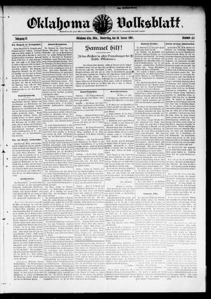 Primary view of object titled 'Oklahoma Volksblatt. (Oklahoma City, Okla.), Vol. 14, No. 46, Ed. 1 Thursday, January 30, 1908'.