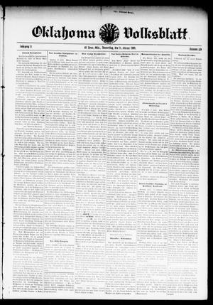 Primary view of object titled 'Oklahoma Volksblatt. (El Reno, Okla.), Vol. 15, No. 49, Ed. 1 Thursday, February 18, 1909'.