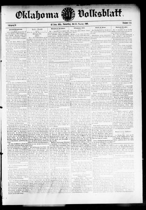 Primary view of object titled 'Oklahoma Volksblatt. (El Reno, Okla.), Vol. 16, No. 35, Ed. 1 Thursday, November 11, 1909'.
