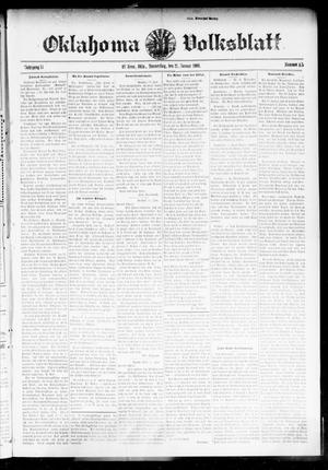 Primary view of object titled 'Oklahoma Volksblatt. (El Reno, Okla.), Vol. 15, No. 45, Ed. 1 Thursday, January 21, 1909'.