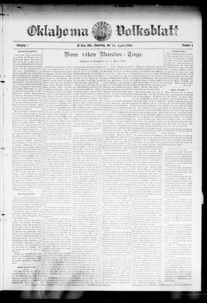 Primary view of object titled 'Oklahoma Volksblatt. (El Reno, Okla.), Vol. 17, No. 4, Ed. 1 Thursday, April 14, 1910'.