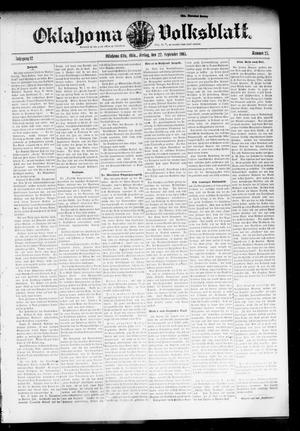 Primary view of object titled 'Oklahoma Volksblatt. (Oklahoma City, Okla.), Vol. 12, No. 27, Ed. 1 Friday, September 22, 1905'.