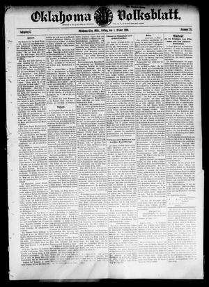 Primary view of object titled 'Oklahoma Volksblatt. (Oklahoma City, Okla.), Vol. 13, No. 29, Ed. 1 Friday, October 5, 1906'.