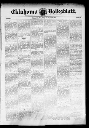 Primary view of object titled 'Oklahoma Volksblatt. (Oklahoma City, Okla.), Vol. 12, No. 40, Ed. 1 Friday, December 22, 1905'.
