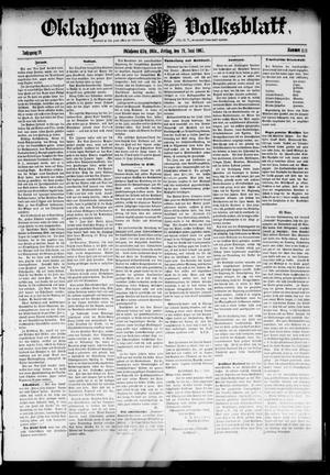Primary view of object titled 'Oklahoma Volksblatt. (Oklahoma City, Okla.), Vol. 14, No. 13, Ed. 1 Friday, June 14, 1907'.