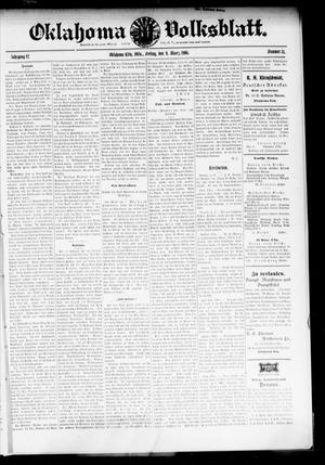 Primary view of object titled 'Oklahoma Volksblatt. (Oklahoma City, Okla.), Vol. 12, No. 51, Ed. 1 Friday, March 9, 1906'.