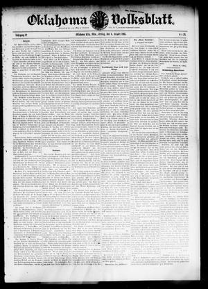 Primary view of object titled 'Oklahoma Volksblatt. (Oklahoma City, Okla.), Vol. 12, No. 29, Ed. 1 Friday, October 6, 1905'.