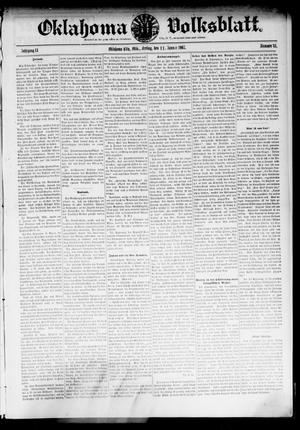 Primary view of object titled 'Oklahoma Volksblatt. (Oklahoma City, Okla.), Vol. 13, No. 43, Ed. 1 Friday, January 11, 1907'.
