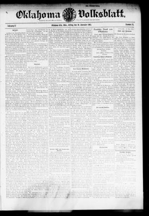 Primary view of object titled 'Oklahoma Volksblatt. (Oklahoma City, Okla.), Vol. 12, No. 34, Ed. 1 Friday, November 10, 1905'.