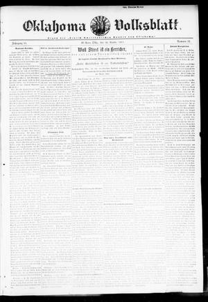 Primary view of object titled 'Oklahoma Volksblatt. (El Reno, Okla.), Vol. 18, No. 37, Ed. 1 Thursday, November 30, 1911'.