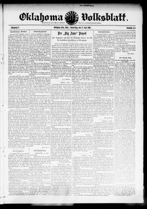 Primary view of object titled 'Oklahoma Volksblatt. (Oklahoma City, Okla.), Vol. 15, No. 10, Ed. 1 Thursday, May 21, 1908'.