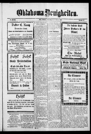 Primary view of Oklahoma Neuigkeiten. (Perry, Okla.), Vol. 21, No. 43, Ed. 1 Thursday, February 23, 1922