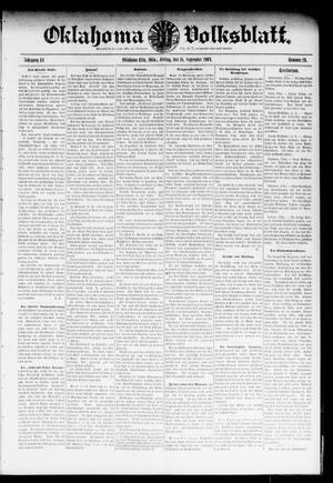 Primary view of object titled 'Oklahoma Volksblatt. (Oklahoma City, Okla.), Vol. 11, No. 26, Ed. 1 Friday, September 16, 1904'.