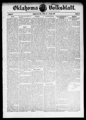 Primary view of object titled 'Oklahoma Volksblatt. (Oklahoma City, Okla.), Vol. 13, No. 25, Ed. 1 Friday, September 7, 1906'.