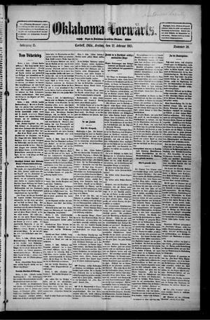 Primary view of Oklahoma Vorwärts. (Cordell, Okla.), Vol. 15, No. 38, Ed. 1 Friday, February 12, 1915