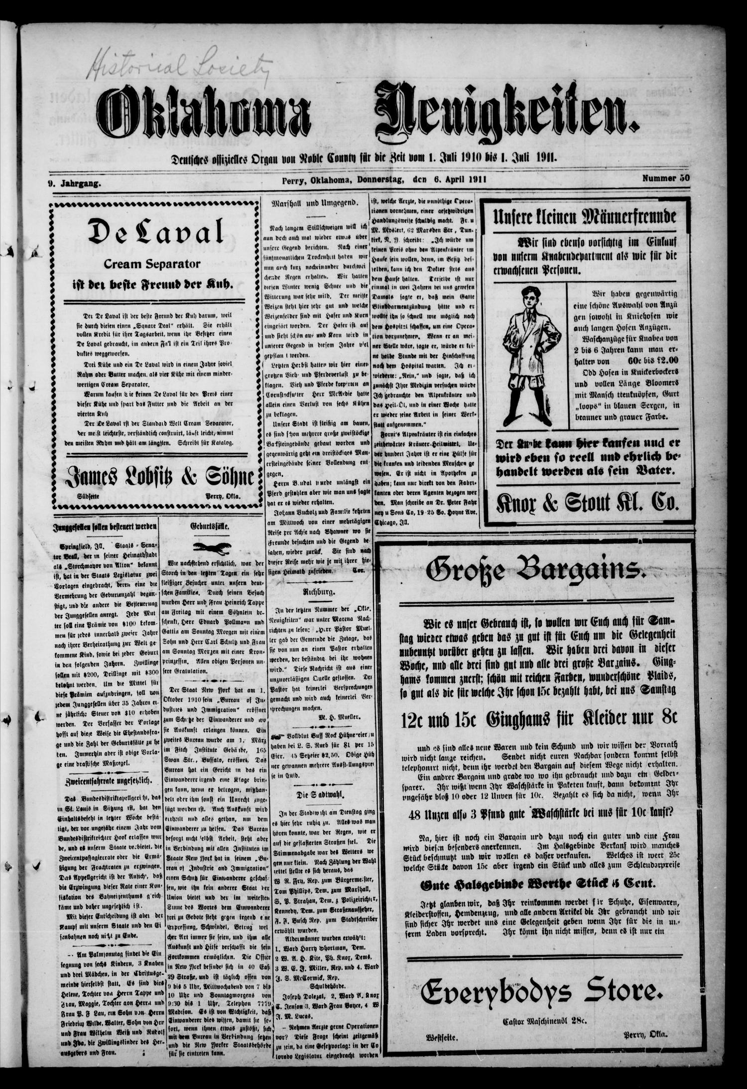 Oklahoma Neuigkeiten. (Perry, Okla.), Vol. 9, No. 50, Ed. 1 Thursday ...