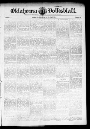 Primary view of object titled 'Oklahoma Volksblatt. (Oklahoma City, Okla.), Vol. 12, No. 23, Ed. 1 Friday, August 25, 1905'.