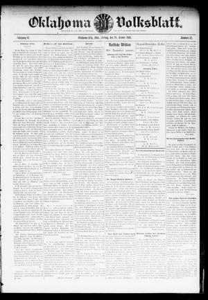 Primary view of object titled 'Oklahoma Volksblatt. (Oklahoma City, Okla.), Vol. 11, No. 32, Ed. 1 Friday, October 28, 1904'.