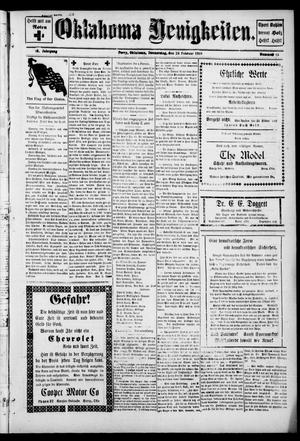 Primary view of object titled 'Oklahoma Neuigkeiten. (Perry, Okla.), Vol. 16, No. 45, Ed. 1 Thursday, February 28, 1918'.
