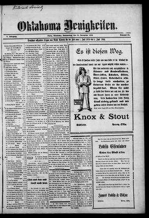 Primary view of Oklahoma Neuigkeiten. (Perry, Okla.), Vol. 9, No. 31, Ed. 1 Thursday, November 24, 1910