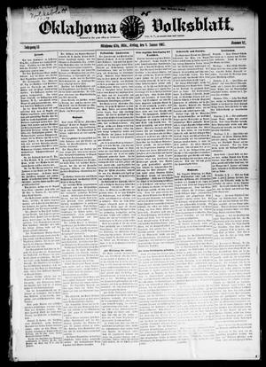 Primary view of object titled 'Oklahoma Volksblatt. (Oklahoma City, Okla.), Vol. 13, No. 42, Ed. 1 Friday, January 4, 1907'.