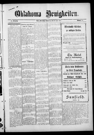 Primary view of Oklahoma Neuigkeiten. (Perry, Okla.), Vol. 15, No. 50, Ed. 1 Thursday, April 12, 1917