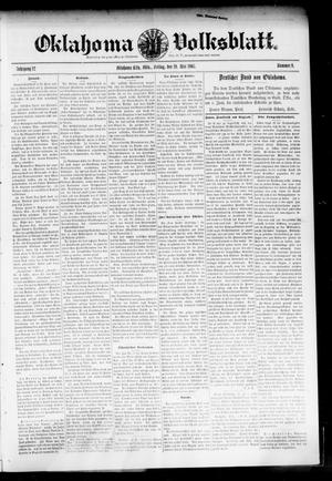 Primary view of object titled 'Oklahoma Volksblatt. (Oklahoma City, Okla.), Vol. 12, No. 9, Ed. 1 Friday, May 19, 1905'.