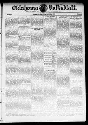 Primary view of object titled 'Oklahoma Volksblatt. (Oklahoma City, Okla.), Vol. 13, No. 5, Ed. 1 Friday, April 20, 1906'.