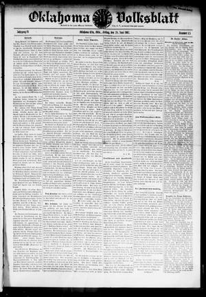 Primary view of object titled 'Oklahoma Volksblatt. (Oklahoma City, Okla.), Vol. 14, No. 15, Ed. 1 Friday, June 28, 1907'.