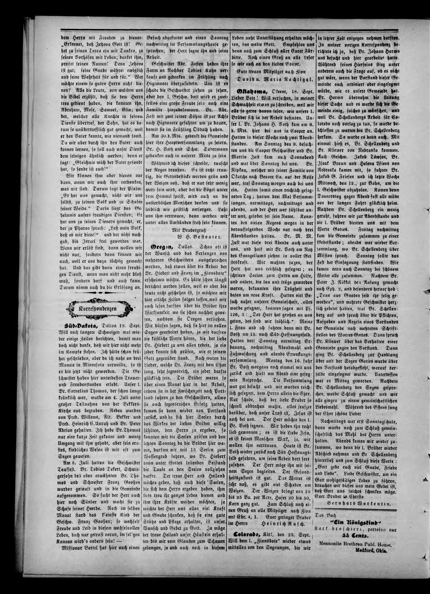 Zions--Bote. (Medford, Okla.), Vol. 22, No. 39, Ed. 1 Wednesday, September 26, 1906                                                                                                      [Sequence #]: 2 of 8
