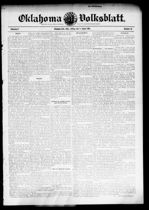 Primary view of object titled 'Oklahoma Volksblatt. (Oklahoma City, Okla.), Vol. 12, No. 20, Ed. 1 Friday, August 4, 1905'.