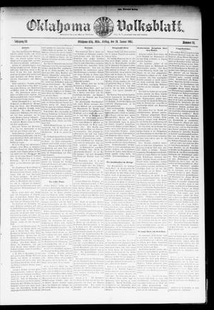 Primary view of object titled 'Oklahoma Volksblatt. (Oklahoma City, Okla.), Vol. 11, No. 44, Ed. 1 Friday, January 20, 1905'.