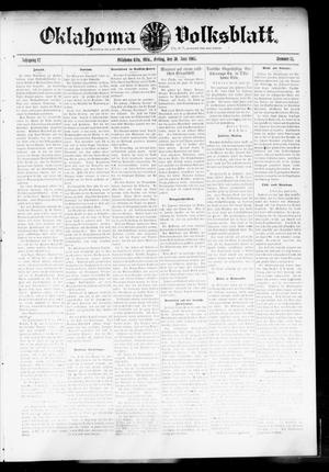 Primary view of object titled 'Oklahoma Volksblatt. (Oklahoma City, Okla.), Vol. 12, No. 15, Ed. 1 Friday, June 30, 1905'.