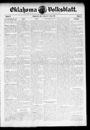 Primary view of Oklahoma Volksblatt. (Oklahoma City, Okla.), Vol. 10, No. 43, Ed. 1 Friday, January 15, 1904
