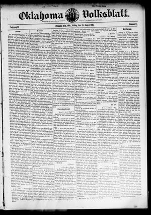 Primary view of object titled 'Oklahoma Volksblatt. (Oklahoma City, Okla.), Vol. 13, No. 21, Ed. 1 Friday, August 10, 1906'.