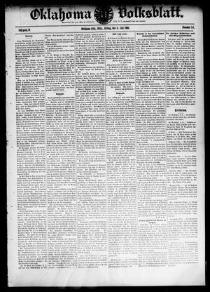 Primary view of object titled 'Oklahoma Volksblatt. (Oklahoma City, Okla.), Vol. 13, No. 16, Ed. 1 Friday, July 6, 1906'.