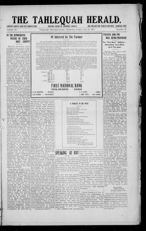 Primary view of object titled 'The Tahlequah Herald. (Tahlequah, Okla.), Vol. 10, No. 10, Ed. 1 Friday, July 19, 1912'.
