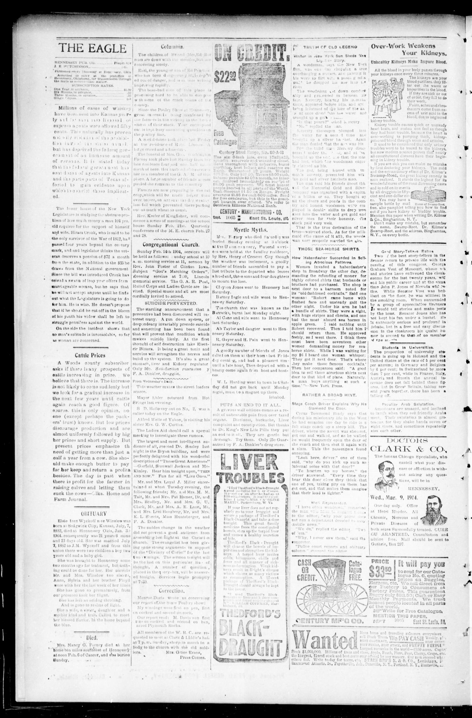 The Eagle. (Hennessey, Okla.), Vol. 3, No. 46, Ed. 1 Thursday, February 11, 1904                                                                                                      [Sequence #]: 4 of 8