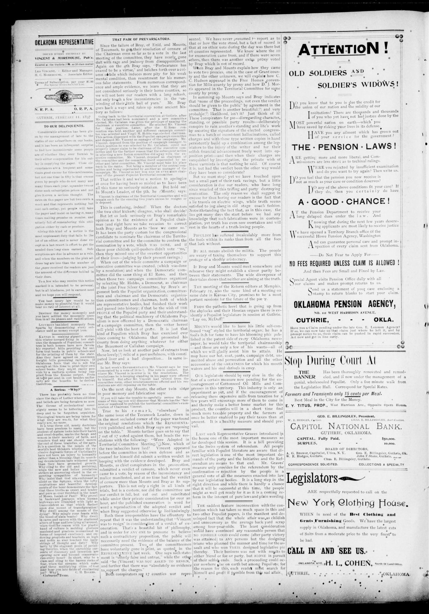 The Oklahoma Representative. (Guthrie, Okla.), Vol. 6, No. 13, Ed. 1 Thursday, February 11, 1897                                                                                                      [Sequence #]: 4 of 8