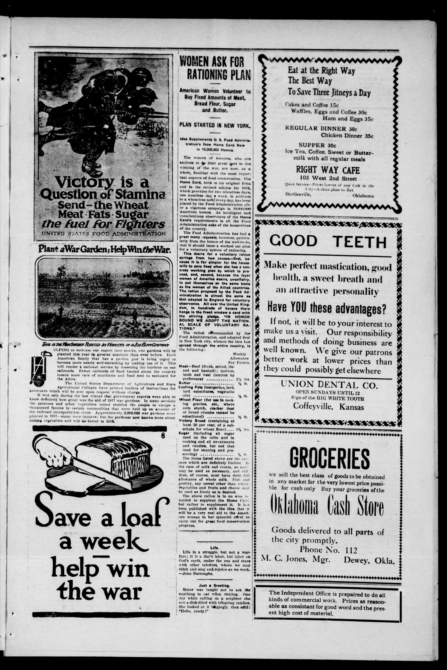 The Independent And The Dewey World (Bartlesville, Okla.), Vol. 13, No. 12, Ed. 1 Friday, May 17, 1918                                                                                                      [Sequence #]: 3 of 4