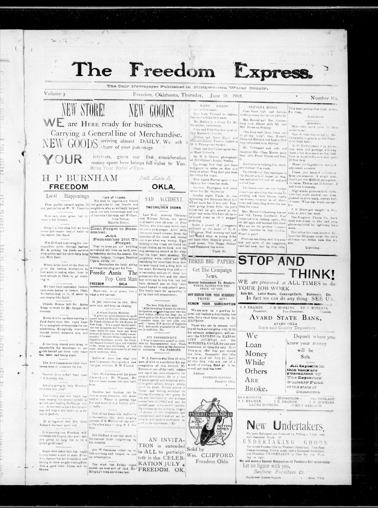 The Freedom Express. (Freedom, Okla.), Vol. 3, No. 10, Ed. 1 Thursday, June 18, 1908                                                                                                      [Sequence #]: 1 of 4