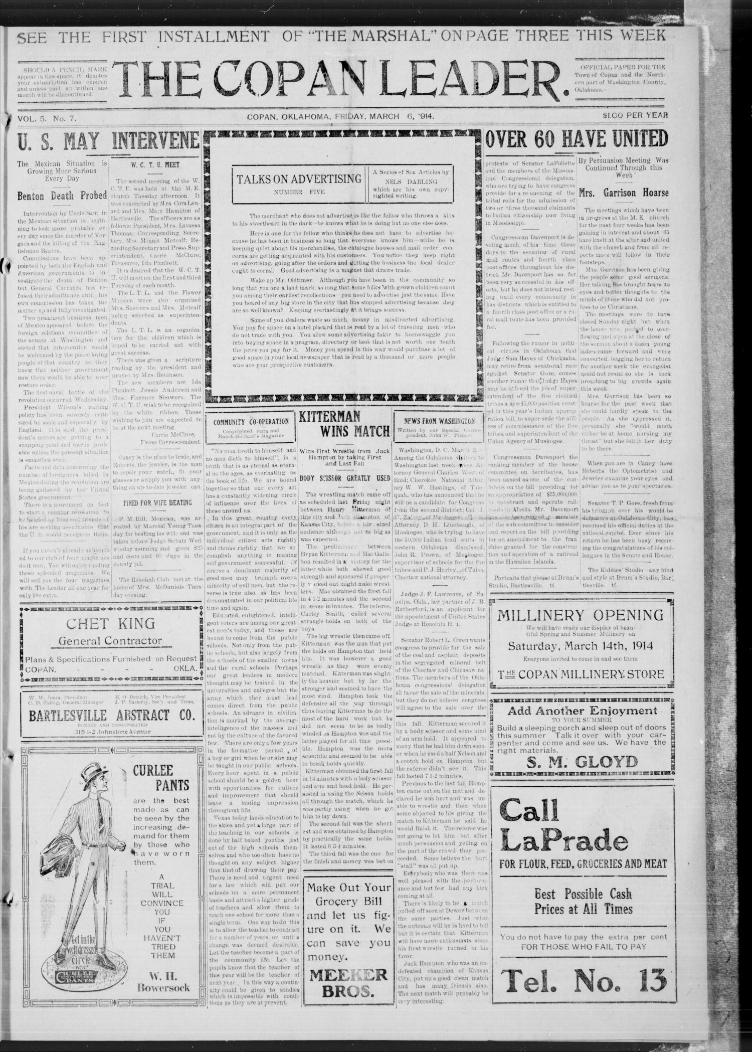 The Copan Leader. (Copan, Okla.), Vol. 5, No. 7, Ed. 1 Friday, March 6, 1914                                                                                                      [Sequence #]: 1 of 4