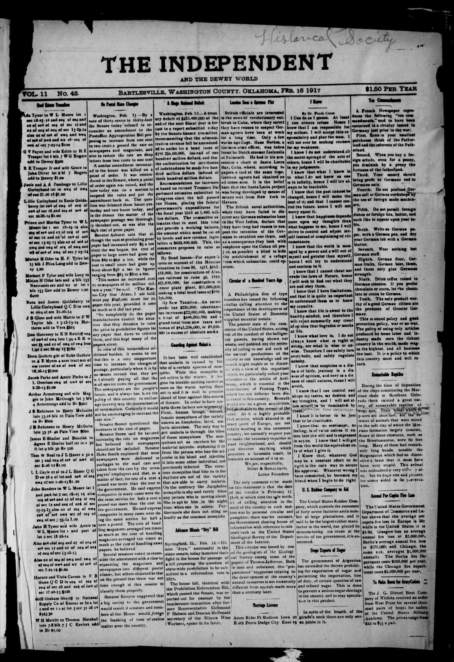 The Independent And The Dewey World (Bartlesville, Okla.), Vol. 11, No. 42, Ed. 1 Friday, February 16, 1917                                                                                                      [Sequence #]: 1 of 2