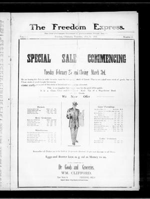 Primary view of object titled 'The Freedom Express. (Freedom, Okla.), Vol. 2, No. 45, Ed. 1 Thursday, February 20, 1908'.