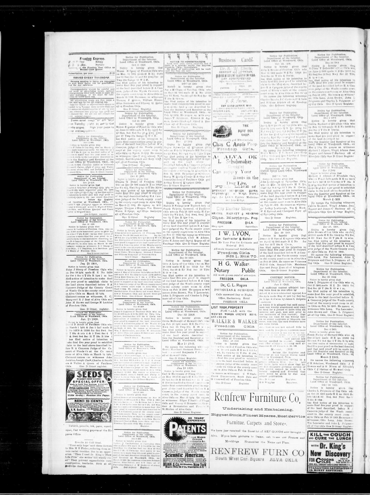 The Freedom Express. (Freedom, Okla.), Vol. 3, No. 44, Ed. 1 Thursday, February 11, 1909                                                                                                      [Sequence #]: 4 of 4
