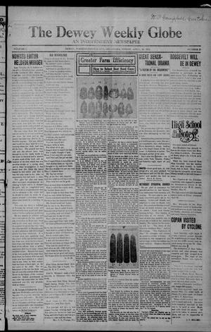Primary view of object titled 'The Dewey Weekly Globe (Dewey, Okla.), Vol. 1, No. 21, Ed. 1 Friday, April 26, 1912'.