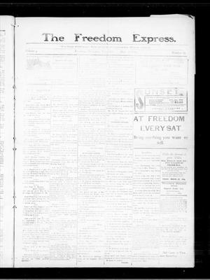 Primary view of object titled 'The Freedom Express. (Freedom, Okla.), Vol. 3, No. 49, Ed. 1 Thursday, March 18, 1909'.